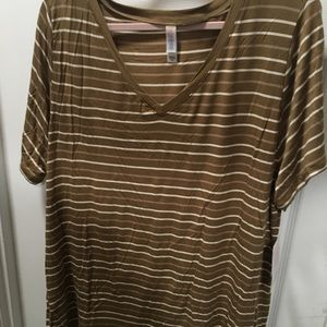 Lularoe Christy 3xl Dark tan, tan & cream stripes